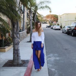 blue fly away maxi skirt