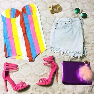 Motel Rocks Tops - Rainbow Candy Stripe Strapless Bodysuit