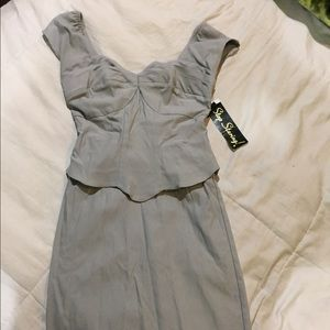 Stop Staring Dresses & Skirts - Stop Staring! Light Grey Corset Type Dress