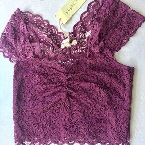 Free People Tops - Paper + Tee purple lace crop top