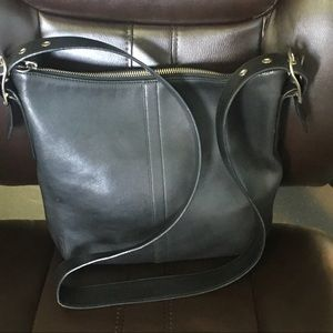 Vintage Coach Legacy Hobo Black Leather