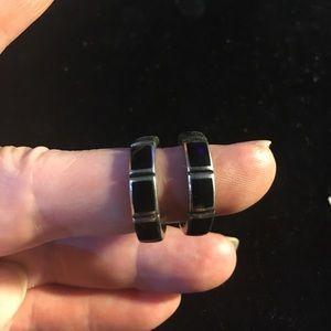 Jewelry - Sterling Silver Black Onyx JHoop 3.8g Earrings