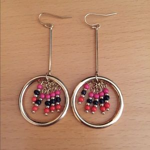 none Jewelry - Long Gold Circle Earrings