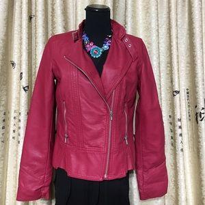Black Rivet Jackets & Blazers - RED LEATHER JACKET MEDIUM