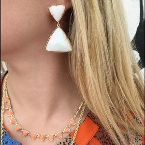 Kendra Scott Jewelry - Kendra Scott White Iridescent Gold Maury Earrings