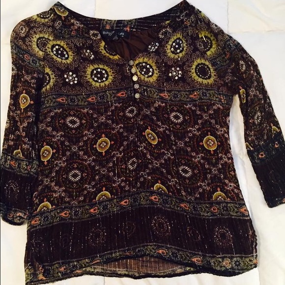 Tops - Brown & Gold Blouse Size Large in Good Condition!