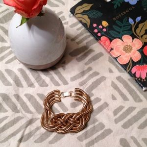 Vintage Jewelry - Chunky nautical chain wrapped woven gold bracelet