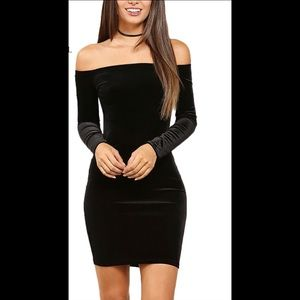 Black Velvet Off-shoulder Dress