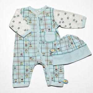Oilily Other - Oilily Blue Horse Star Wild West Romper & Hat