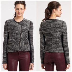 Rebecca Taylor Gray Leather Trimmed boucle Jacket