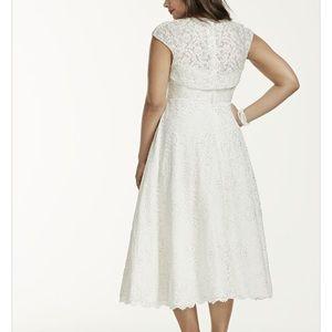 Tea-Length Plus Size Wedding Dress with Jacket