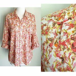AnnTaylor Loft Pink & White RollTab Button Shirt