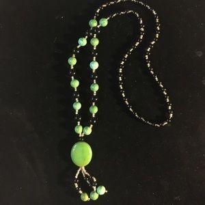 "Jewelry - Jasper Stone & Black Agate Necklace 30"""