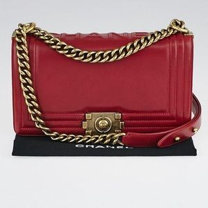 Chanel authentic red medium boy gold hardware bag