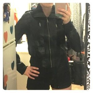 Black leather bomber jacket