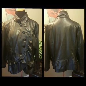Oleg Cassini Jackets & Blazers - Oleg Cassini Ruffled Faux Leather Jacket