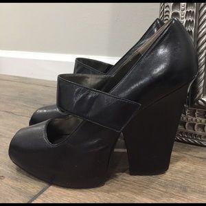 Wild Pair Shoes - Black Mary Jane Platform Heels