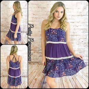 Pretty Persuasions Dresses & Skirts - NWT Purple Printed Crochet Trim Slip Dress