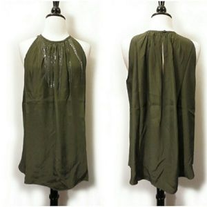 Acrobat Tops - Olive Green Silk Sleeveless Chain Top by Acrobat