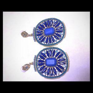 Goldtone bold statement dangle earrings