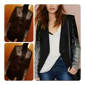 Jackets & Blazers - NEW BLACK OMBRE SEQUIN BLAZER w/ LEATHER COLLAR