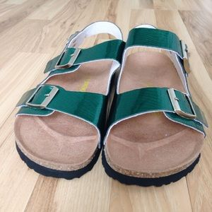 Birkenstock Shoes - 🆕 Milano Shiny Snake Green Birkenstocks