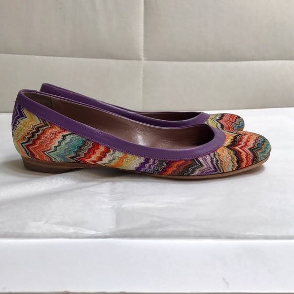 Missoni Shoes - Missoni zig zag ballet flats purple leather trim