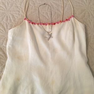 Muse Tops - Muse white linen top with glee trim