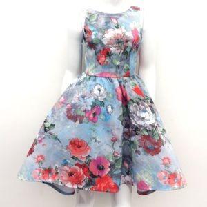Auditions Dresses & Skirts - Sky Blue Flora Print Dress