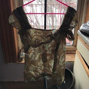 Philosophy di Alberta Ferretti Tops - Sheer pattern 100%silk Italian short sleeve blouse