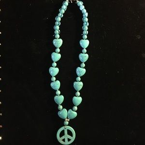 Turquoise Howlite Stone Heart/Peace Necklace