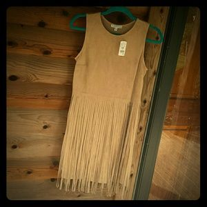 Faux Suede Dress w/Fringe