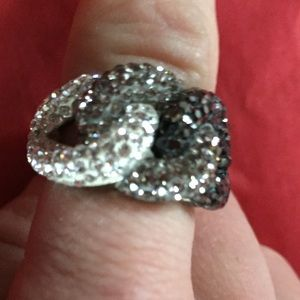 unknown Jewelry - Brass black Austrian crystal pave ring