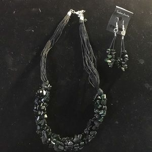 Black Howlite Stone Necklace & Earrings