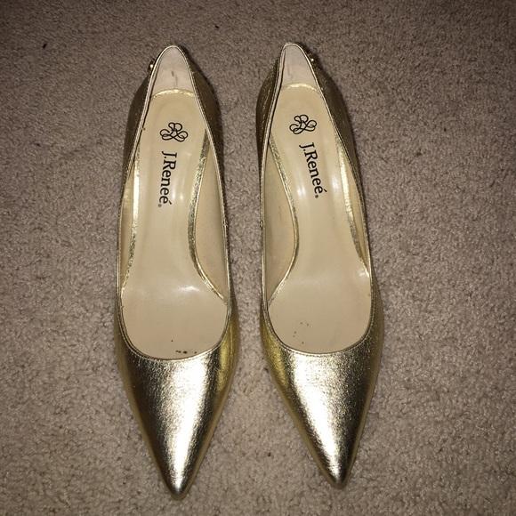 7107652117f j.renee Shoes - J. Renee Gold Pumps
