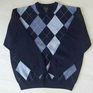 Men's navy and baby blue argyle sweater