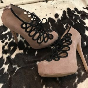 Nude lace up shoemint pumps 6.5 suede