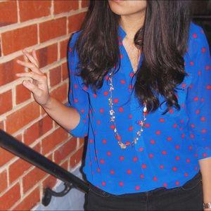 Francesca's Collections Tops - Francesca's Collection Polka Dots Blouse