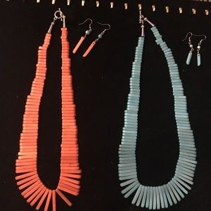 Howlite Stone Stick Earring &Necklace Sets CHOOSE