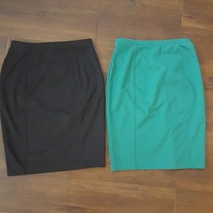 Pair of teal green & black stretch pencil skirts
