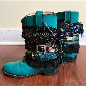 Justin Boots Shoes - Custom Upcycled Turquoise Peacock Gypsy Boots 7