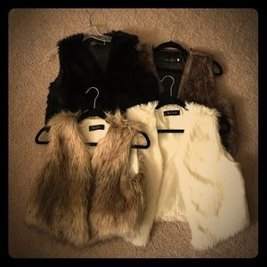 Jackets & Blazers - Lot of 4 waist length faux fur vests