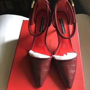 Charles Jourdan Shoes - Charles Jourdan Red Heels with Embossed Leather