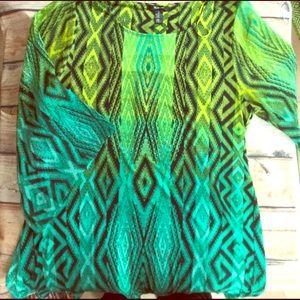 Style & Co Tops - Kimono Sleeved Tribal Southwestern Tunic