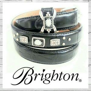 Brighton Accessories - Brighton Water Lilly Black Croc Leather Belt Sz L