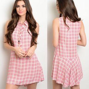 Dresses & Skirts - Pink White Plaid Button Down Sleeveless Dress