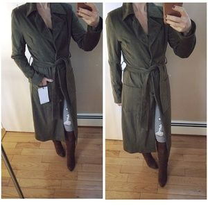 Badgley Mischka olive green faux suede trench
