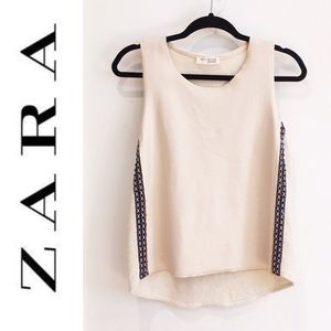 Zara embroidered faux leather tank