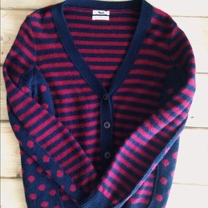 Madewell Sweaters - Madewell Wallace Cardigan Stripe Dot Navy Red