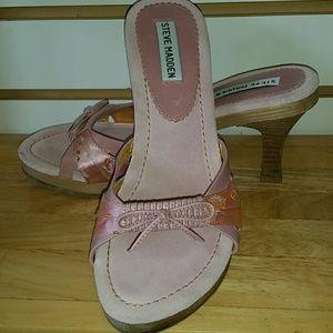 Steve Madden wooden sole heels pink